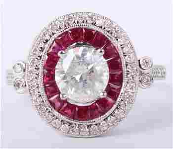 LADIES .950 PLATINUM RUBY & DIAMOND RING