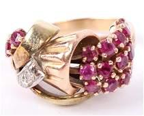 LADIES ANTIQUE 14K GOLD BOUQUET RUBY DIAMOND RING