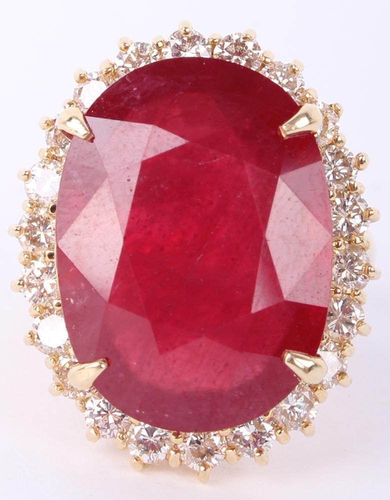 LADIES 14K YELLOW GOLD RUBY & DIAMOND RING 20.67CT