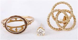 14K GOLD EARRINGS AND RING WO GEMSTONE  LOT OF 3