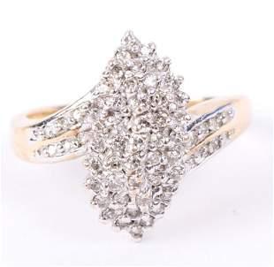 LADIES 10K YELLOW GOLD DIAMOND CLUSTER RING