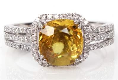 LADIES .950 PLATINUM SAPPHIRE & DIAMOND RING