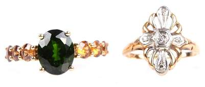 LADIES 14K GOLD RINGS - DIAMOND & TSAVORITE