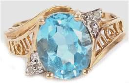 LADIES 10K YELLOW GOLD DIAMOND TOPAZ RING