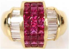 LADIES 18K YELLOW GOLD DIAMOND & RUBY RING