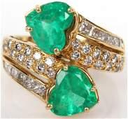 LADIES 18K YELLOW GOLD DIAMOND & EMERALD RING