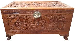 CHINESE ANTIQUE CARVED CAMPHOR WOOD TRUNK CHEST