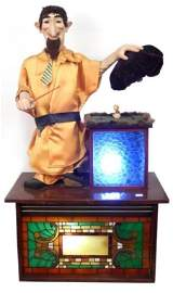VINTAGE PERFORMING MAGICIAN LIGHTED AUTOMATON