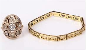 VICTORIAN 10K GOLD FILLED RING AND 9K HFB BRACELET