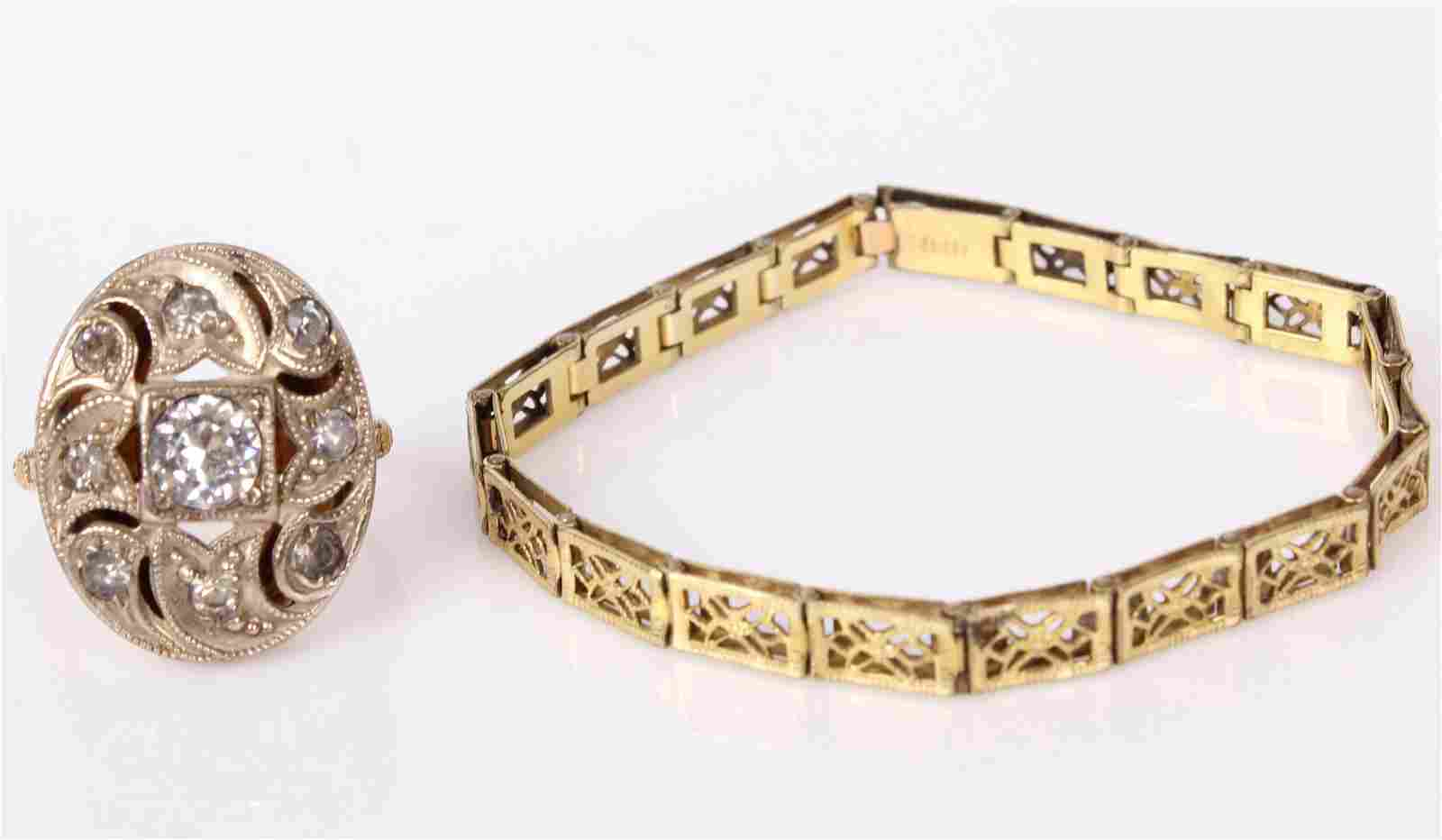 VICTORIAN 10K GOLD FILLED RING AND 9K HFB BRACELET