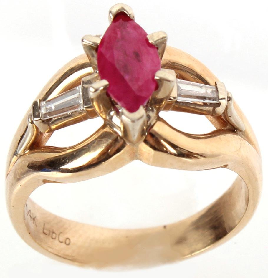 LIBCO DESIGNER 14K GOLD DIAMOND MARQUISE RUBY RING