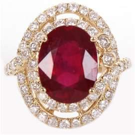 14K YELLOW GOLD DIAMOND 7.65CT RUBY LADIES RING