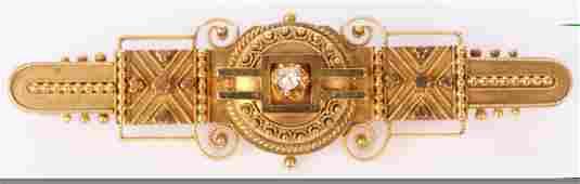 LADIES 14K YELLOW GOLD VICTORIAN DIAMOND BROOCH