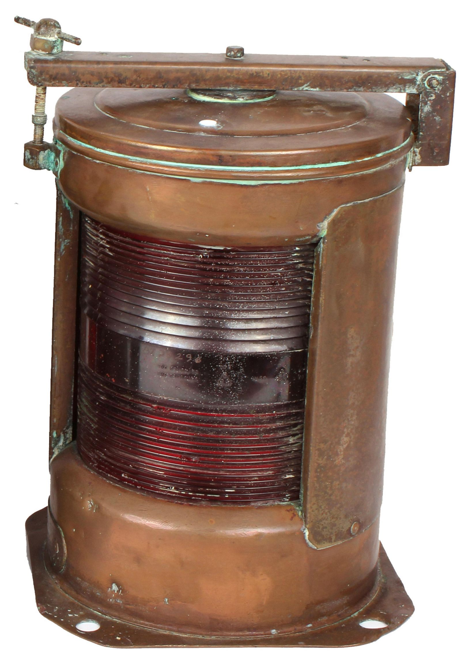 EARLY 20TH C. SHIP'S BRASS PORT RED SIGNAL LIGHT