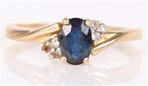 14K YELLOW GOLD BLUE SAPPHIRE  DIAMOND RING
