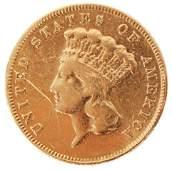 1866 THREE DOLLAR INDIAN PRINCESS HEAD GOLD COIN