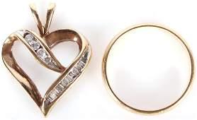 LADIES 10K  14K YELLOW GOLD HEART PENDANT  RING