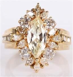 18K YELLOW GOLD 1.5 CT MARQUIS DIAMOND LADIES RING