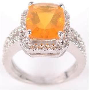 14K WHITE GOLD 2.73CT FIRE OPAL DIAMOND RING