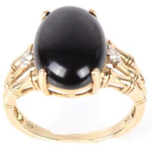 10K YELLOW GOLD NA HOKU BLACK CORAL LADIES RING
