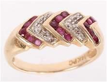 14K YELLOW GOLD DIAMOND RUBY LADIES RING
