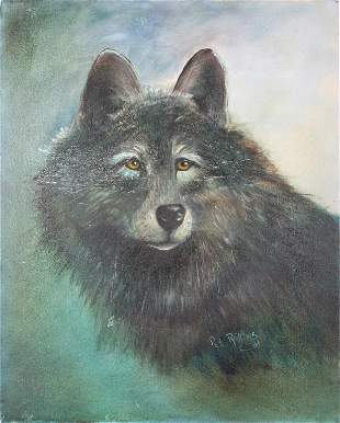 PAT ROLLINS FLORIDA ARTIST OIL WOLF PAINTING