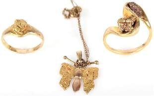 10K YELLOW GOLD LADIES ASSORTED JEWELRY (3)