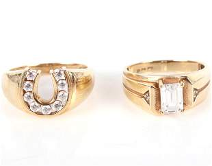 10K YELLOW GOLD LADIES DECORATIVE RINGS (2)