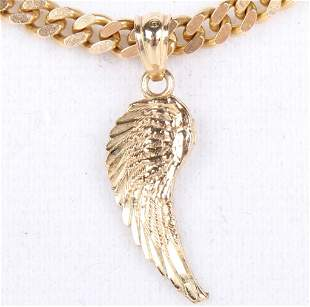 10K YELLOW GOLD CHAIN NECKLACE WITH WING PENDANT
