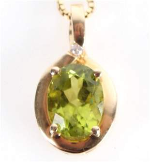 14K YELLOW GOLD 1CT PERIDOT LADIES NECKLACE