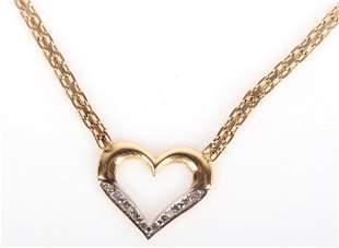 14K YELLOW GOLD DIAMOND HEART LADIES NECKLACE