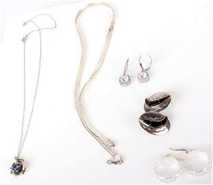 STERLING SILVER LADIES NECKLACES & EARRINGS (8)