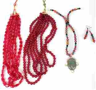 RED & GREEN JADEITE LADIES NECKLACES & EARRINGS(5)