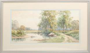 SIGNED COUNTRYSIDE CREEK LANDSCAPE WATERCOLOR