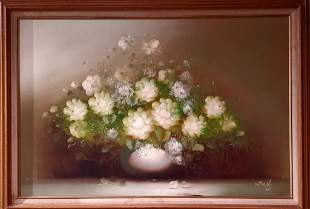 SALLY SIGNED STILL LIFE FLORAL OIL PAINTING
