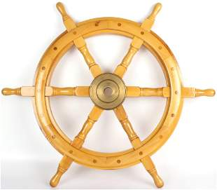 NAUTICAL WOODEN BRASS SHIP STEERING WHEEL