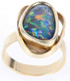18K YELLOW GOLD RING WITH LARGE FIRE OPAL