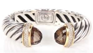 DAVID YURMAN 18K & STERLING TOPAZ DIAMOND BRACELET