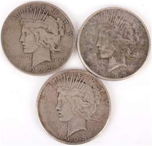 90% SILVER PEACE DOLLARS - 1922-23 LOT OF 3
