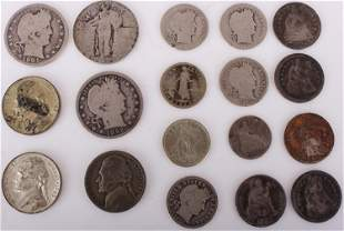 90 75 35% SILVER AMERICAN COINS - LOT OF 18