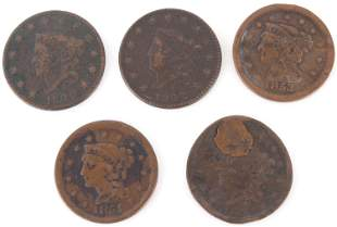 CORONET HEAD LARGE CENT U.S. COINS - LOT OF 5
