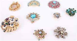 VINTAGE COSTUME JEWELRY BROOCH PINS-LOT OF 8
