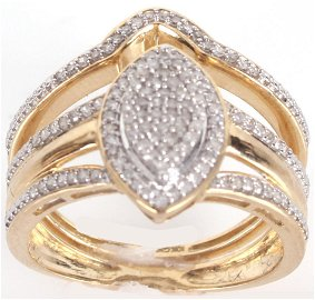 10K YELLOW GOLD 1.07CTW DIAMOND RING WITH BAND