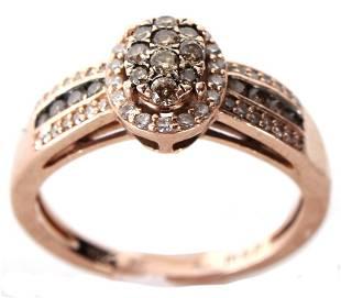 10K YELLOW GOLD CHOCOLATE DIAMOND LADIES RING