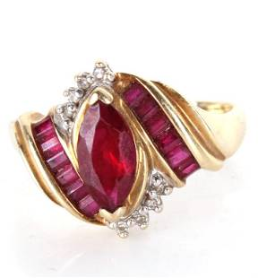 10K YELLOW GOLD MARQUIS RUBY & DIAMOND RING
