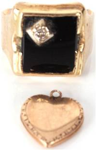 10K GOLD DIAMOND ONYX RING & 14K HEART PENDANT