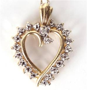 10K YELLOW GOLD CASUAL HEART NECKLACE