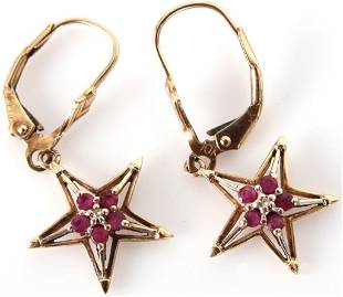 10K YELLOW GOLD RUBY AND DIAMOND STAR EARRINGS