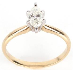 14K YELLOW GOLD 0.45CT MARQUIS DIAMOND LADIES RING