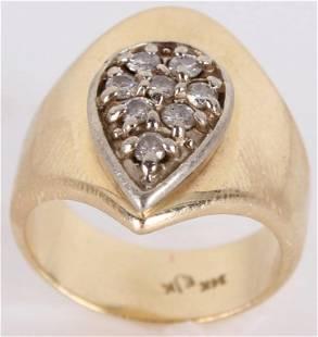 14K YELLOW GOLD DIAMOND UNISEX RING STAMPED EJK